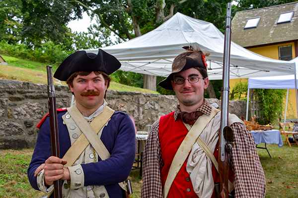 Colonial re-enactors at Avery-Copp House on Groton Bank Day.